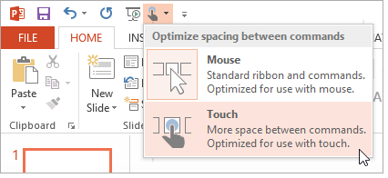 PowerPoint 2013: Touch Mode