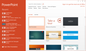 PowerPoint 2013: Welcome Screen