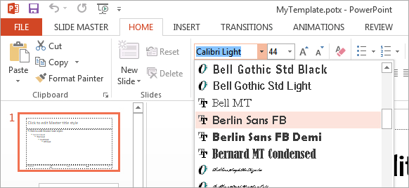 how to permanently change the default font in powerpoint
