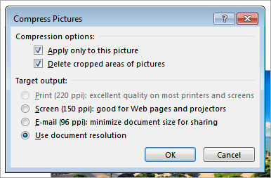 PowerPoint: Compress Pictures Dialog