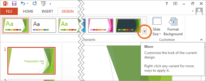 PowerPoint: Design > Variants > More