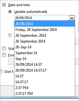 PowerPoint: Header and Footer Date and Time