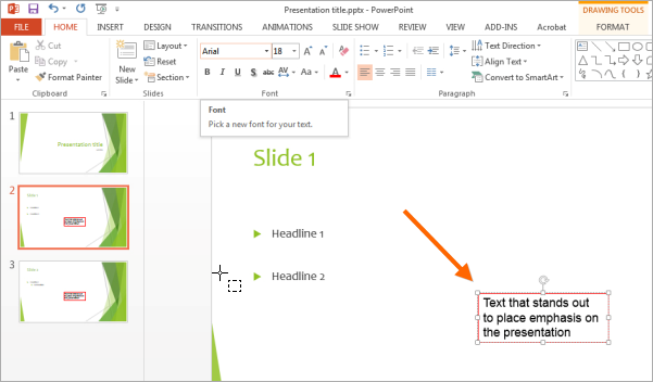PowerPoint: Text with Custom Font