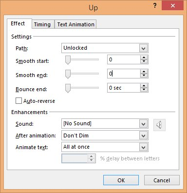 Up Animation Effect Dialog